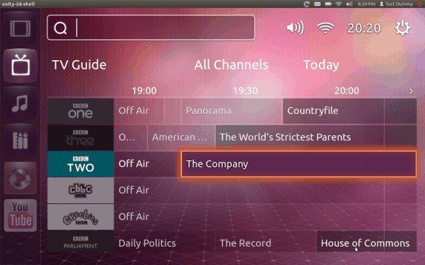 Ubuntu TV broadcast TV schedule