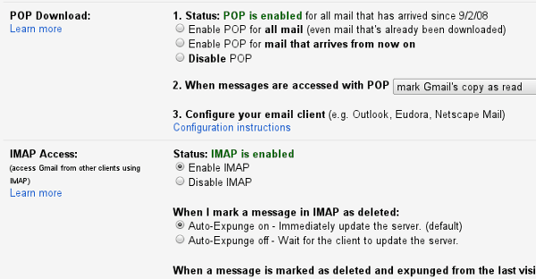 Gmail POP and IMAP settings