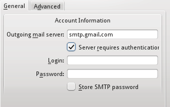 Kmail SMTP settings