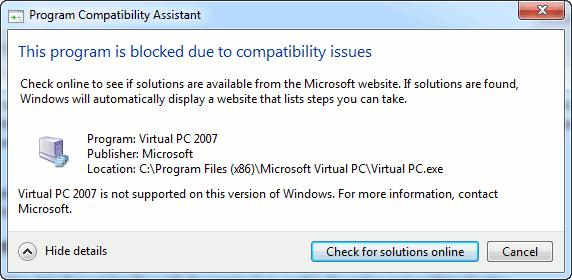 Microsoft Virtual PC 2007 error