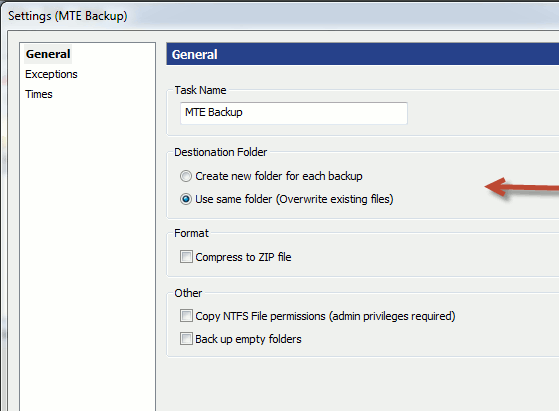WinDataReflector-backup settings
