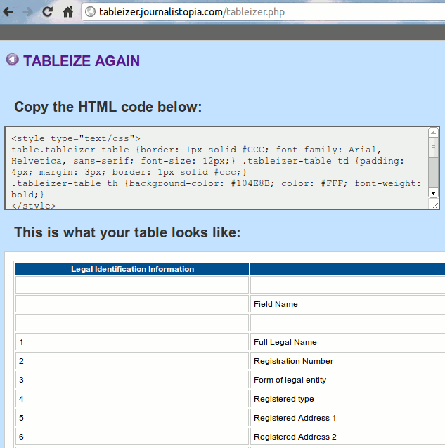 spreadsheet2html-tableizer