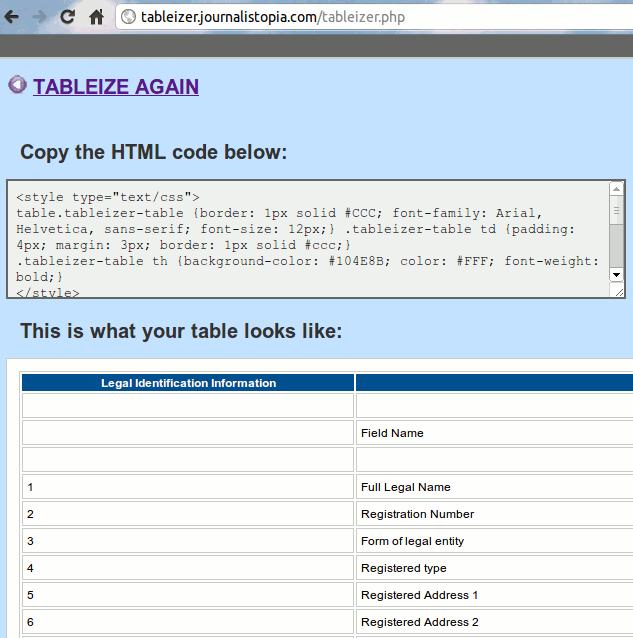 spreadsheet2html-tableizer