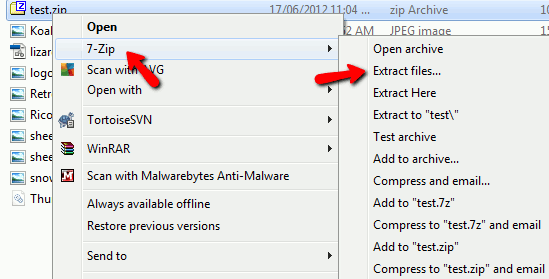 7zip-file-manager context menu