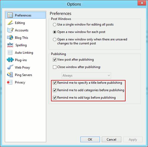 Windows Live Writer reminder options