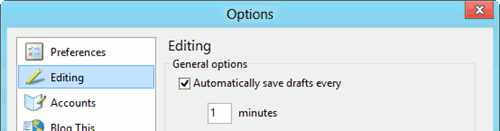 auto saving drafts in WLW