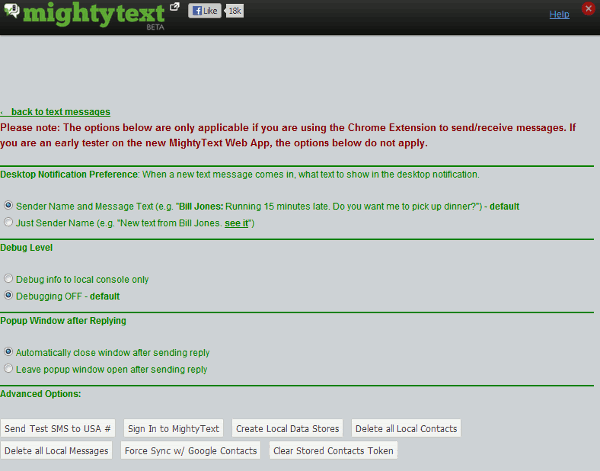 mightytext-settings