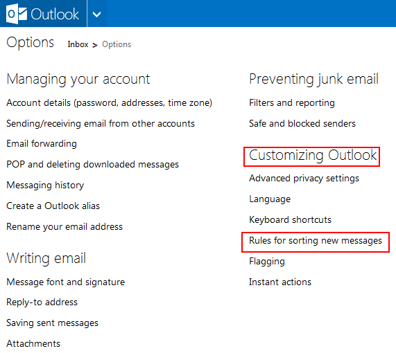 Outlook-customizing