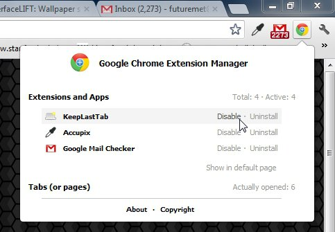 chrome-manager-options