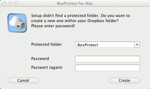 Create a protected Dropbox folder in BoxProtect.