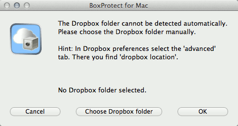 BoxProtect will automatically detect your Dropbox folder upon startup.