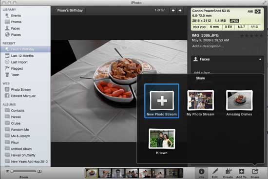 Adding to Photo Stream With iPhoto