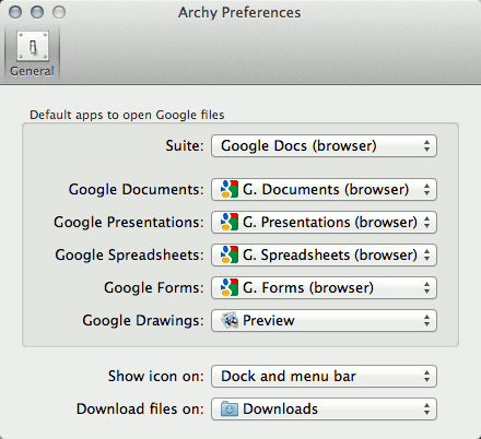 Archy preferences window.