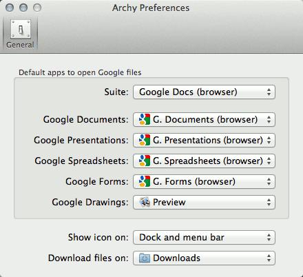 Archy preferences window.