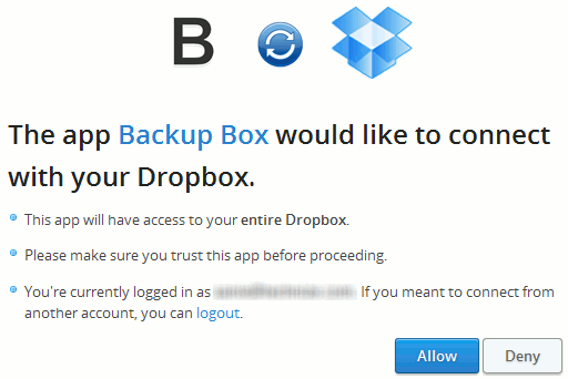 Connecting to backup box