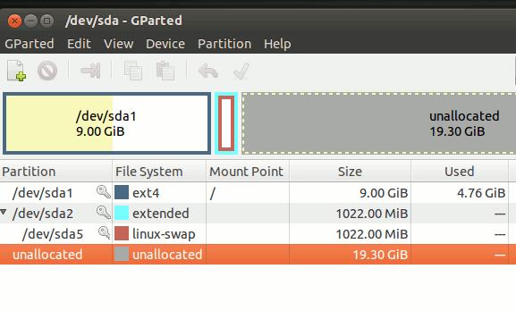 vbox-gparted-unallocated