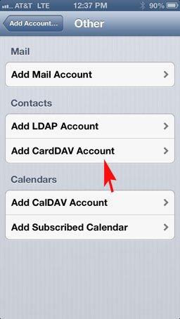 CardDav iOS Account