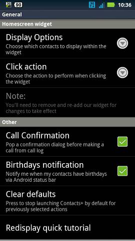 Contacts+ settings