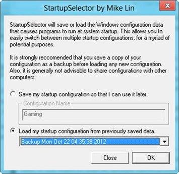 StartupSelector profiles