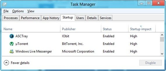 Task manager startup