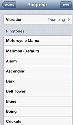 iOS vibration ringtone