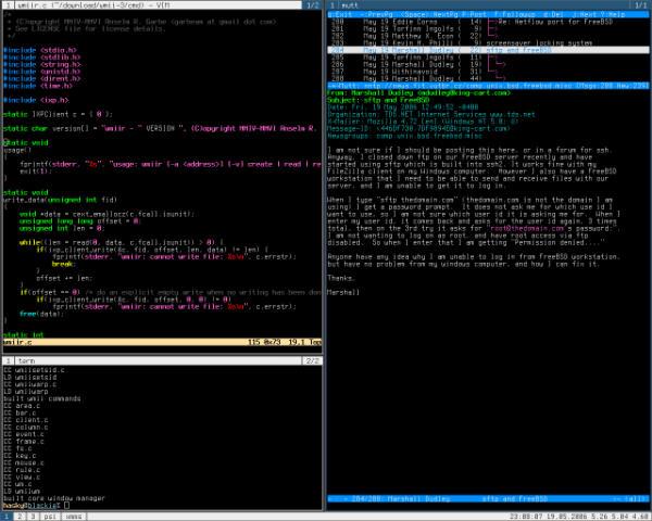 linux desktop wmii