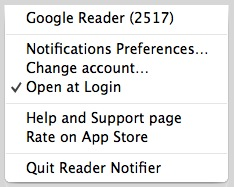 Reader Notifier - Menu bar options