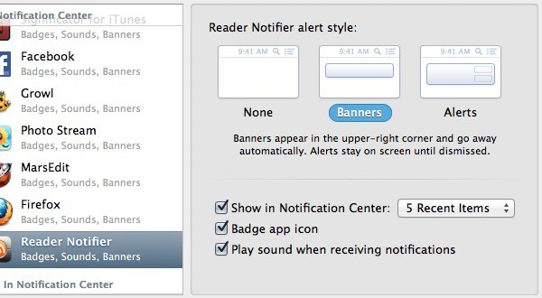 Reader Notifier - Notification Preferences