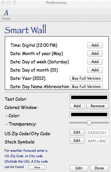 Smart Wall preferences window.