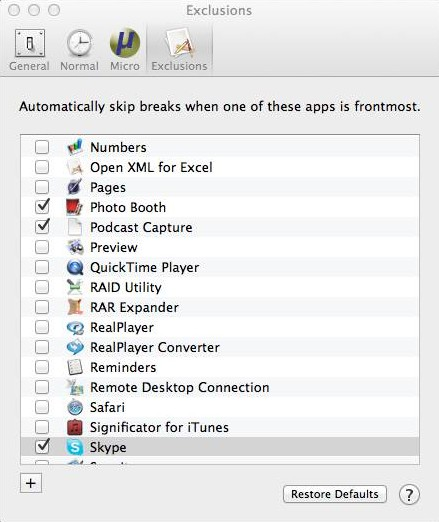 Time Out Free for Mac - Exclusions