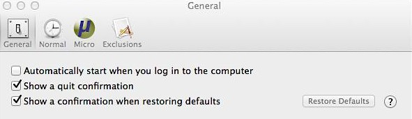 Time Out Free for Mac - General Settings