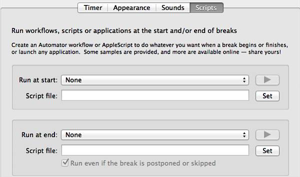 Time Out Free for Mac - Script Settings
