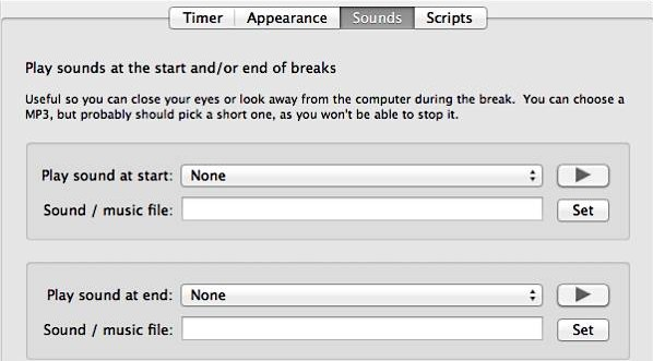 Time Out Free for Mac - Sounds Settings