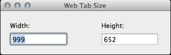 Customize the window size of Web Tab for Mac