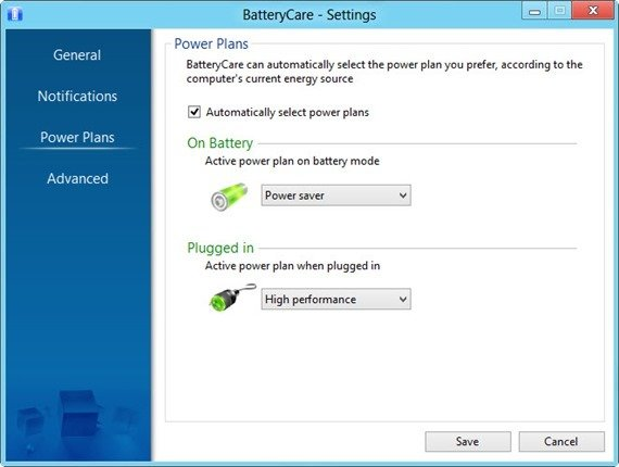 BatteryCare power settings