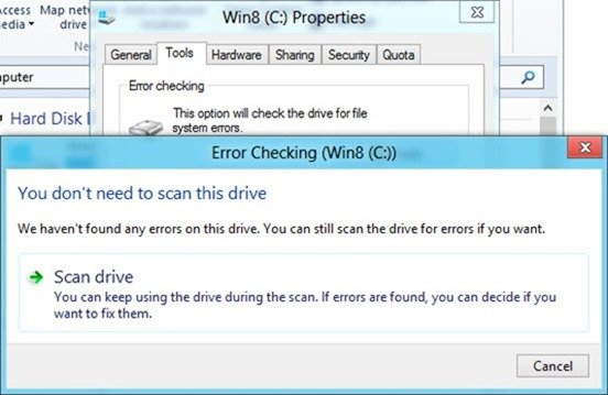 Error checking in Windows 8