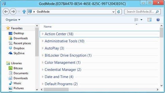 GodMode Windows 8