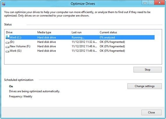Optimize drives in Windows 8