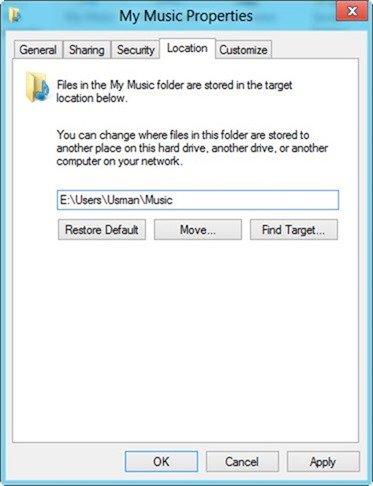 User folder location