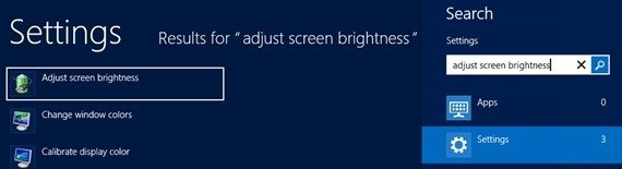 adjust screen brightness windows 8 search