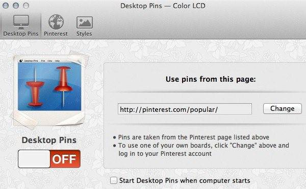 Desktop Pins for Mac setup window.
