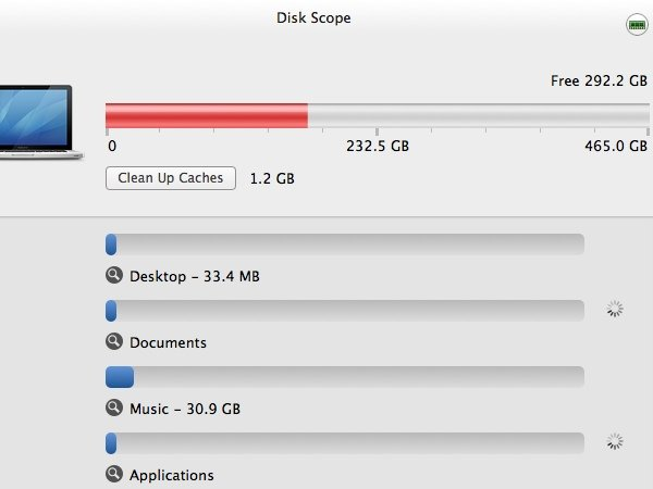 Disk Scope will automatically scan your selected hard drive.