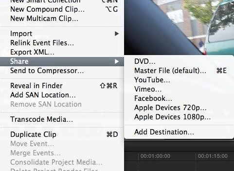 transition from imovie to final cut pro: Sharing