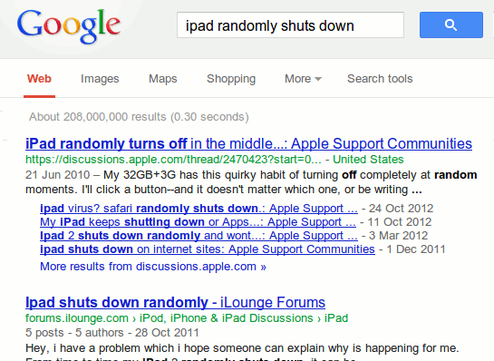 Search for troubleshooting solutions in Google