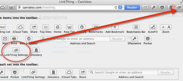 Drag the LinkThing Settings icon to your browser toolbar.