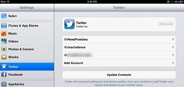 The Twitter menu in iOS settings.