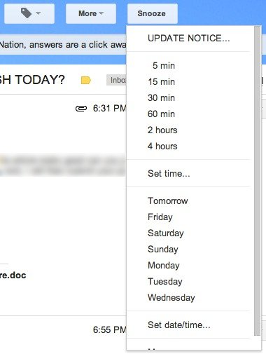 Snooze Your Email time increments.