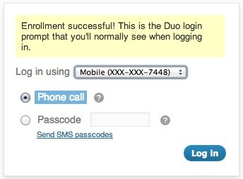 Duo login prompt on WordPress blog.