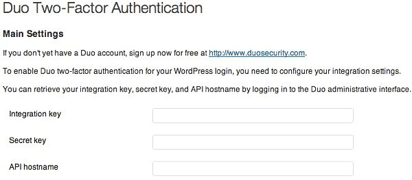 Duo Two-Factor Authentication settings page in WordPress.