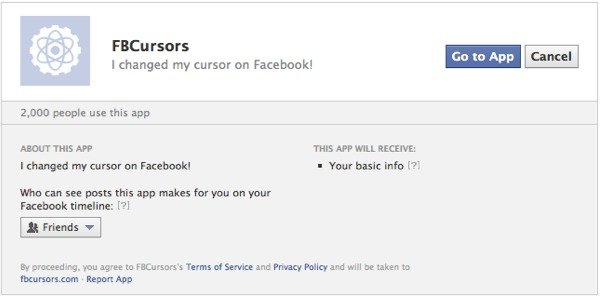 Add the FB Cursors Facebook app to your account.